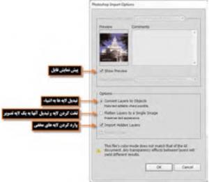 پنجره تنظیمات جایگزینی فایلهای Psdدر Illustrator