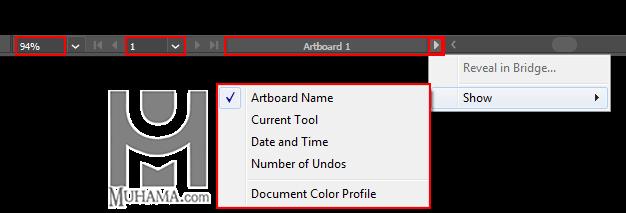 نوار وضعیت و منوی نمایش اطلاعات فایل